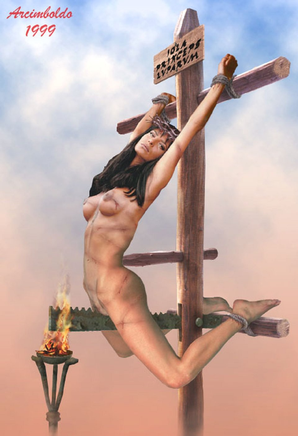 Crucified punishment orgasm bdsm artwork - free